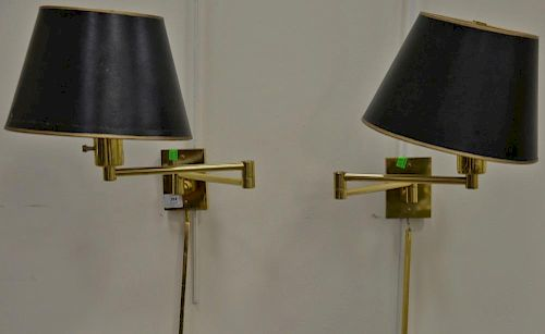 One pair of Hansen brass wall mount lamps with shades, deepest possible extension size: 18in