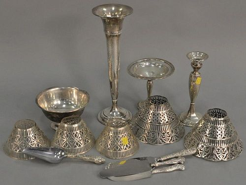Lot of sterling silver weighted with Bailey Banks and Biddle hand hammered vase (ht. 14in.), stick and compote, plus lamp sha
