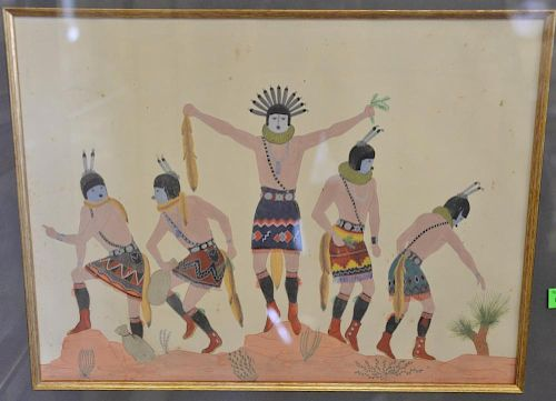 """Harrison Begay (1914-2012), gouache/paper, Navajo ya bi Chai Gods, signed lower right: H. Begay, purchased at """"The Studio"""" U."""