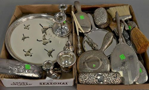 Two tray lots of sterling silver weighted and some plated.   Provenance: The Estate of Thomas F Hodgman of Fairfield, Connect