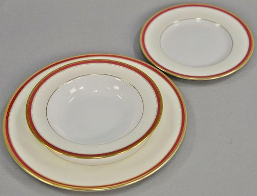 Thirty-six total pieces to include partial set of Minton china marked Minton 4-50, 12 dinner plates, 12 soup bowls, 12 lunch