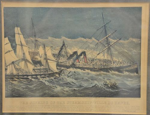 "Currier & Ives  colored lithograph  ""The Sinking of the Steam Ship Ville Du Havre""  sight size: 10 1/4"" x 13 3/8""  Provenanc."