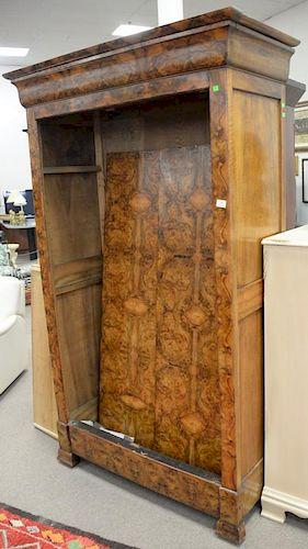 Burlwood two door armoire (doors off for moving). ht. 84 in., wd. 45 in.