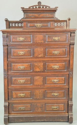 Victorian walnut lockside chest. ht. 66 in., wd. 37 in.  Provenance: From the Estate of Faith K. Tiberio of Sherborn, Massach