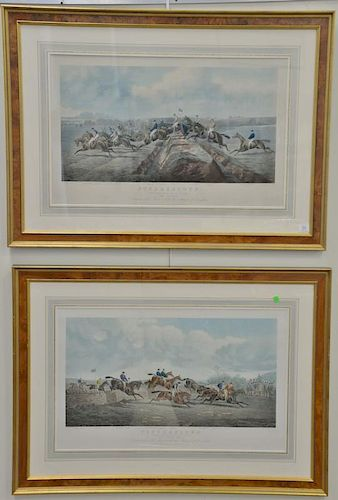 After John Sturgess (1869-1923) pair of aquatints including Punchestown Conyngham Cup 1872 The Double and The Stonewall, afte