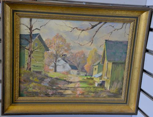 "Alex Poplaski (1906-1988), oil on canvas, Connecticut farmyard with house and barns, signed lower left: Poplaski, 12"" x 16""."