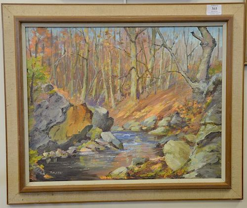 "Alex Poplaski (1906-1988), oil on board, fall landscape with brook, signed lower left: Poplaski, 14"" x 20""."