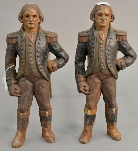 Pair of figural iron andirons of George Washington, marked Howes with original paint decoration.  height 16 inches