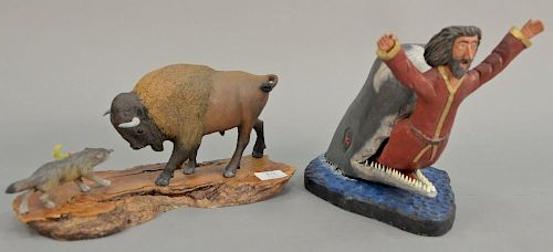Two piece lot including Gallagher carved wood Jonah and the Whale figure (ht. 9 3/4in., lg. 12in.) and a bison in a standoff