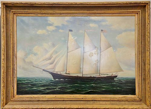 "D. Tayler (American 20th Century), oil on canvas, American Schooner, signed lower right: D. Tayler, 25"" x 37""."