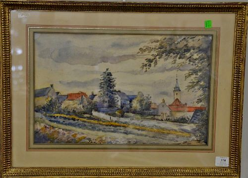 French town landscape, watercolor on paper, signed bottom center illegibly, having Hanover Square Gallery receipt and label.