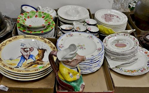 Six tray lots to include Gien France Les Tartes twelve plates, set of twelve Minton plates, Mottahedeh rasberry dish, set of