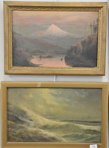 Two framed oil on canvas paintings to include Henry A. Duessel (1858-1919), oil on canvas, seascape, signed lower left: H.A.