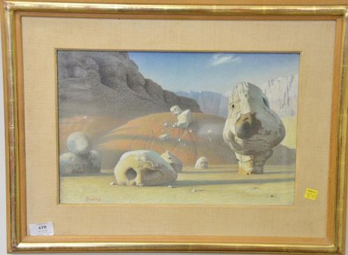 Werner Groshans (1913-1986) pastel on paper, Study for Western Landscape, signed lower left: Groshans, having original label