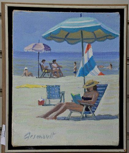 """Paul Arsenault (20th century), oil on canvas, """"Beach Reading"""", signed lower left: Arsenault, having Paul Arsenault Exhibit la"""