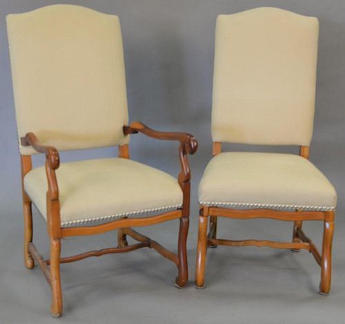 Set of five Ralph Lauren Continental style upholstered armchairs. total ht. 46 in.