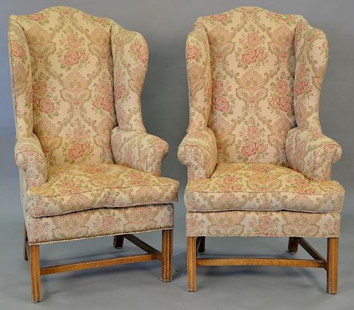 Pair of custom made tiger maple Chippendale style upholstered wing chairs, in the manner of Eldred Wheeler. ht. 54 in.