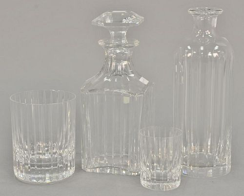 Baccarat crystal decanter set to include a bottle with stopper, set of eight goblets, eight cordials, two large goblets, and