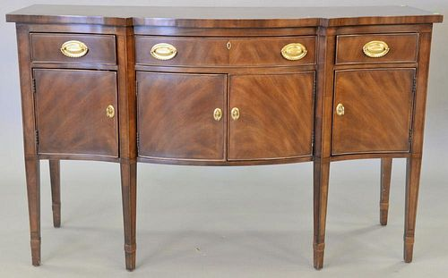 "Henredon mahogany diminutive sideboard, Federal style with banded top. ht. 38 in., top: 23"" x 60"""