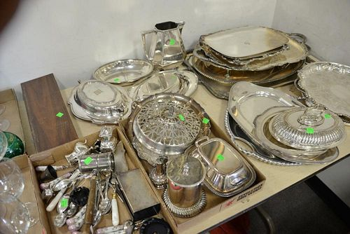 Large group of silverplate items to include large serving trays, bowls, warming dishes, etc.   Provenance: The Estate of Thom