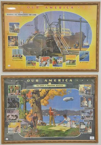 """Set of four Our America Oil posters/lithographs. 21 1/2"""" x 31 1/2"""""""