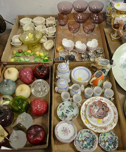 Four tray lots to include miniature porcelain fruit place card holders, two bisque figural creamers, small porcelain baskets,