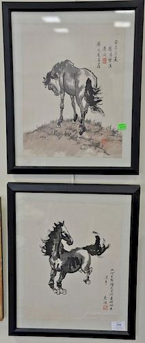 """Two Chinese watercolors on paper of a horse, both signed and bearing seal mark, each image size 13 1/2"""" x 10 1/2""""."""