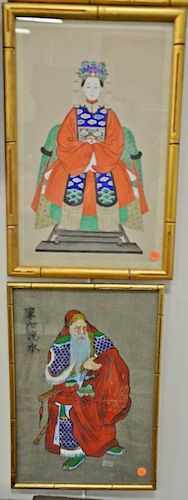 """Four framed Chinese paintings to include a pair of 20th century ancestral portraits 17"""" x 10"""", elderly bearded man in a red r"""