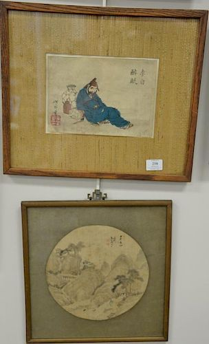 """Group of five framed Japanese woodblock prints. sight sizes 9"""" x 6 1/2"""" to 14 1/2"""" x 6 1/2"""""""