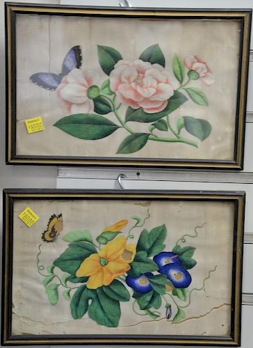"Set of seven 19th century Chinese paintings on rice paper of blossoming flowers and butterflies. 6"" x 8"""