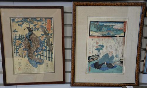 """Four framed Japanese woodblock prints, one is a tryptic. sight size 13 1/2"""" x 9 1/2"""" to image size 14"""" x 29"""""""