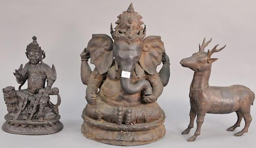 Three piece lot including two large Chinese bronzes including stag (ht. 17 1/2in.) and mythical seated elephant figure (ht. 2