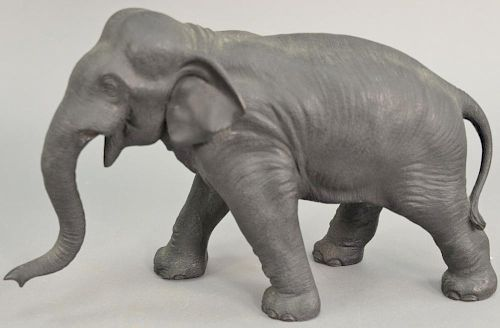 Japanese bronze elephant sculpture, signed on bottom. ht. 8 in., lg. 13 1/2 in.   Provenance: The Estate of Thomas F Hodgman