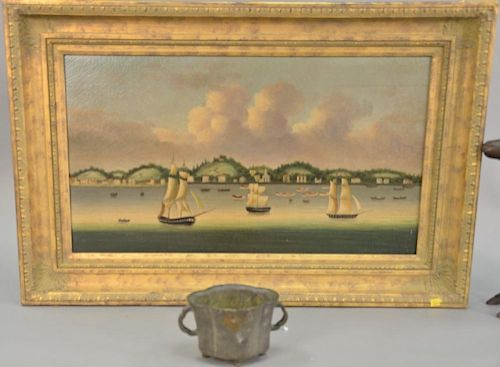 "Two piece lot to include a reproduction China trade painting 17 1/2"" x 31"" and reproduction bronze censer ht. 4 1/2in."