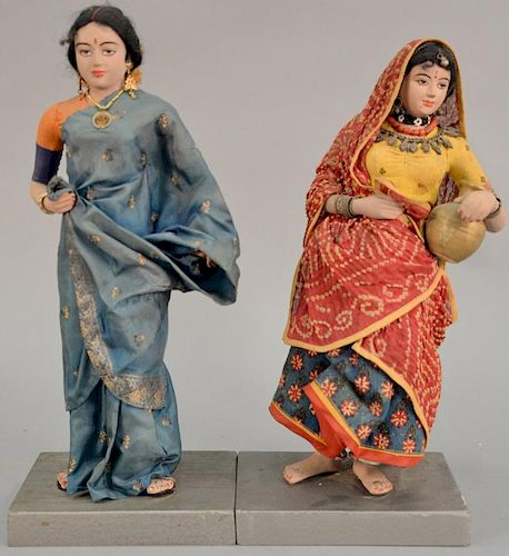 Pair of 19th century Middle Eastern ceramic dolls. ht. 15in. & 16in.   Provenance: The Estate of Thomas F Hodgman of Fairfiel