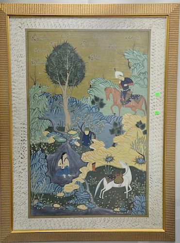 Pair of Tibetan Middle Eastern mixed media on cloth paintings, one landscape with hunter on horse by nude woman bathing and t
