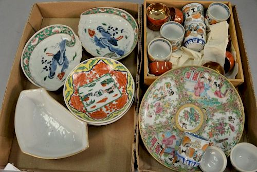 Group of Chinese porcelain to include rose medallion plate (dia. 8in.), pair of famile verte dishes, famile rose triangle dis