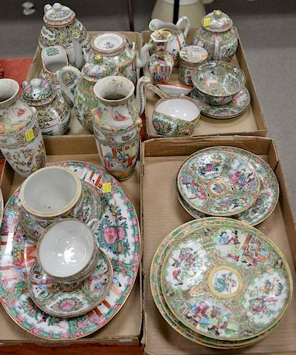 Large group of rose medallion and rose famille porcelain to include a charger, tea and coffee pots, oval tray, vases, plates,
