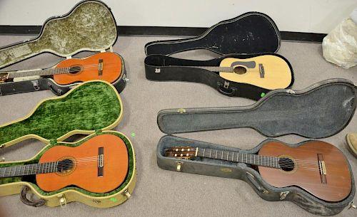 Four guitars in cases including Jose Ramirez, Ramirez Madrid, Contreras Classical guitar, and George Guitar.