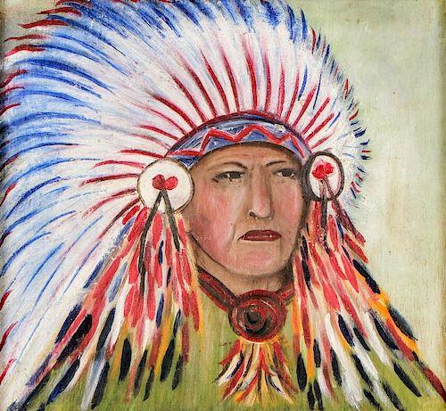American School (20th c.) Portrait of a Native American Chief