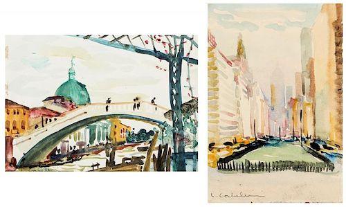 Luigi Corbellini (1901-1968) 2 Watercolor Paintings