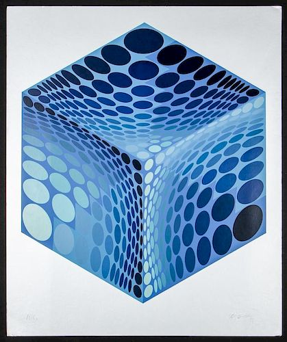 Victor Vasarely (1906-1997) Parmenide (Blue and Silver)