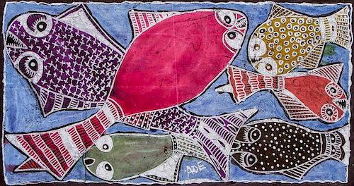 "Ade Oyelami (Nigerian, 20th c.) ""Golden Fishes"""