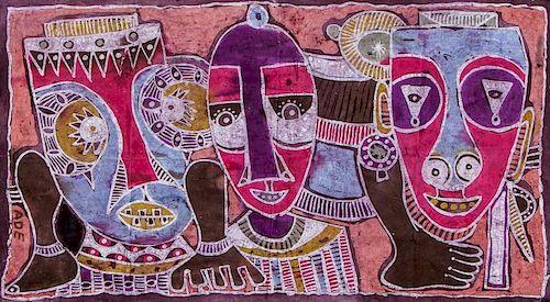 """Ade Oyelami (Nigerian, 20th c.) """"Masks"""""""
