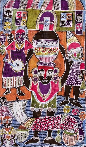 """Ade Oyelami (Nigerian, 20th c.) """"Osun Festival"""""""