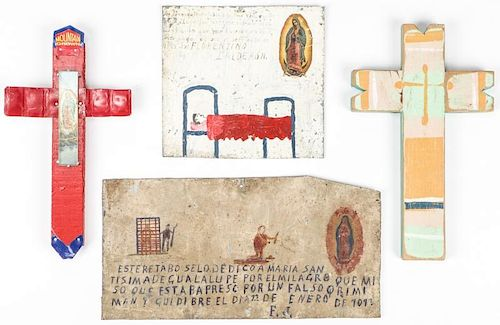 New Mexico Retablos (2) and Painted Crosses (2)