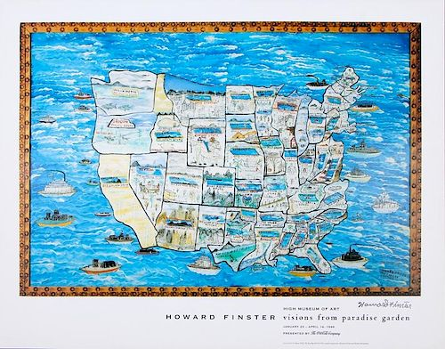 Howard Finster (1916-2001) Signed Museum Exhibition Poster