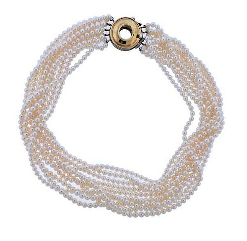 56a193369 Tiffany & Co Paloma Picasso Gold Silver Clasp Pearl Necklace by ...