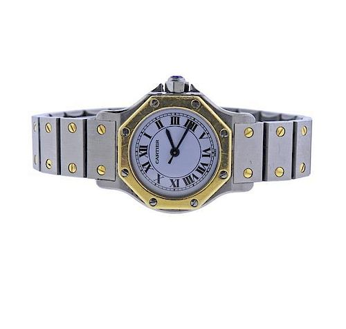 Cartier Santos 18k Gold Steel Automatic Watch by Hampton Estate ... c029fcaa1a44