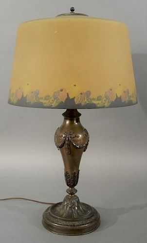 Pairpoint table lamp with reverse painted shade, signed base and shade.  height 27 inches, diameter 16 inches